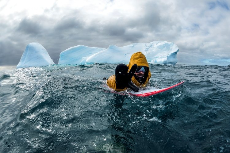 Surfing in cold water